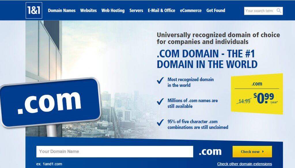 1&1 Domain offer