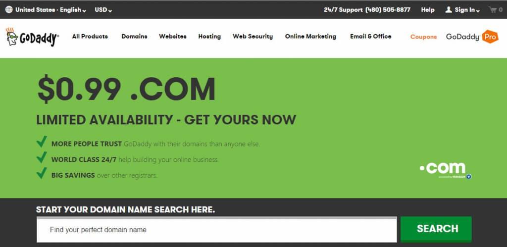 Godaddy Domain offer