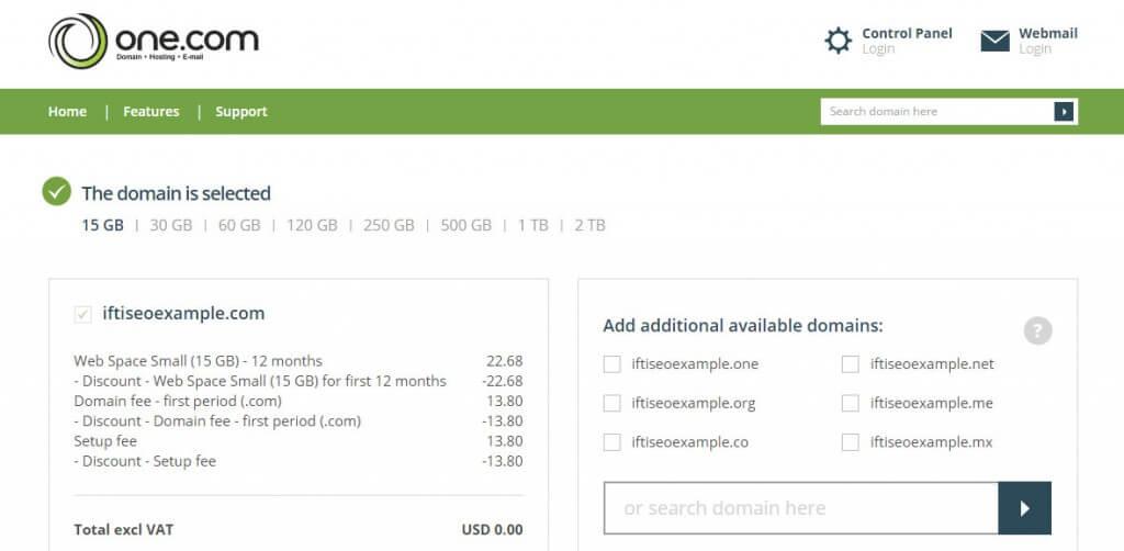 One.com hosting offer