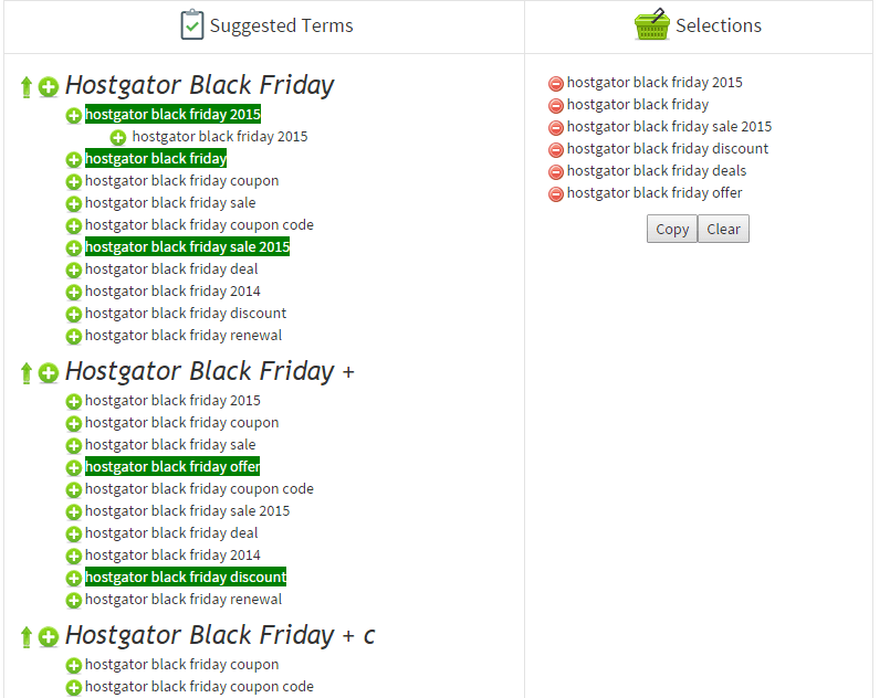 Keywords for Black Friday Hostgator