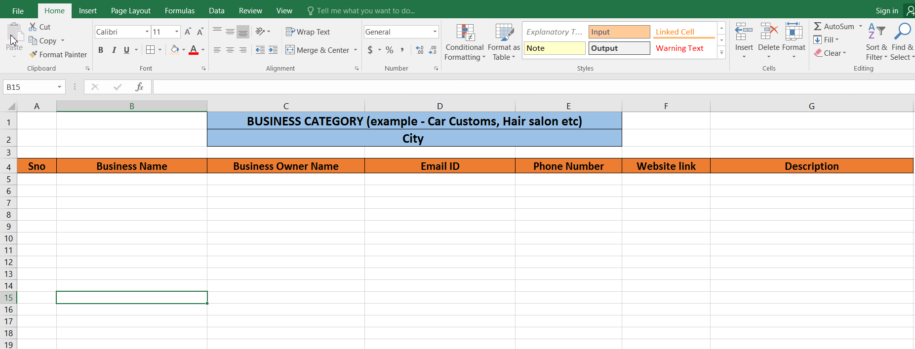excel template iftiseo