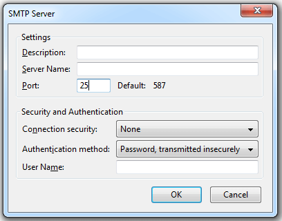Default Gmail SMTP Settings